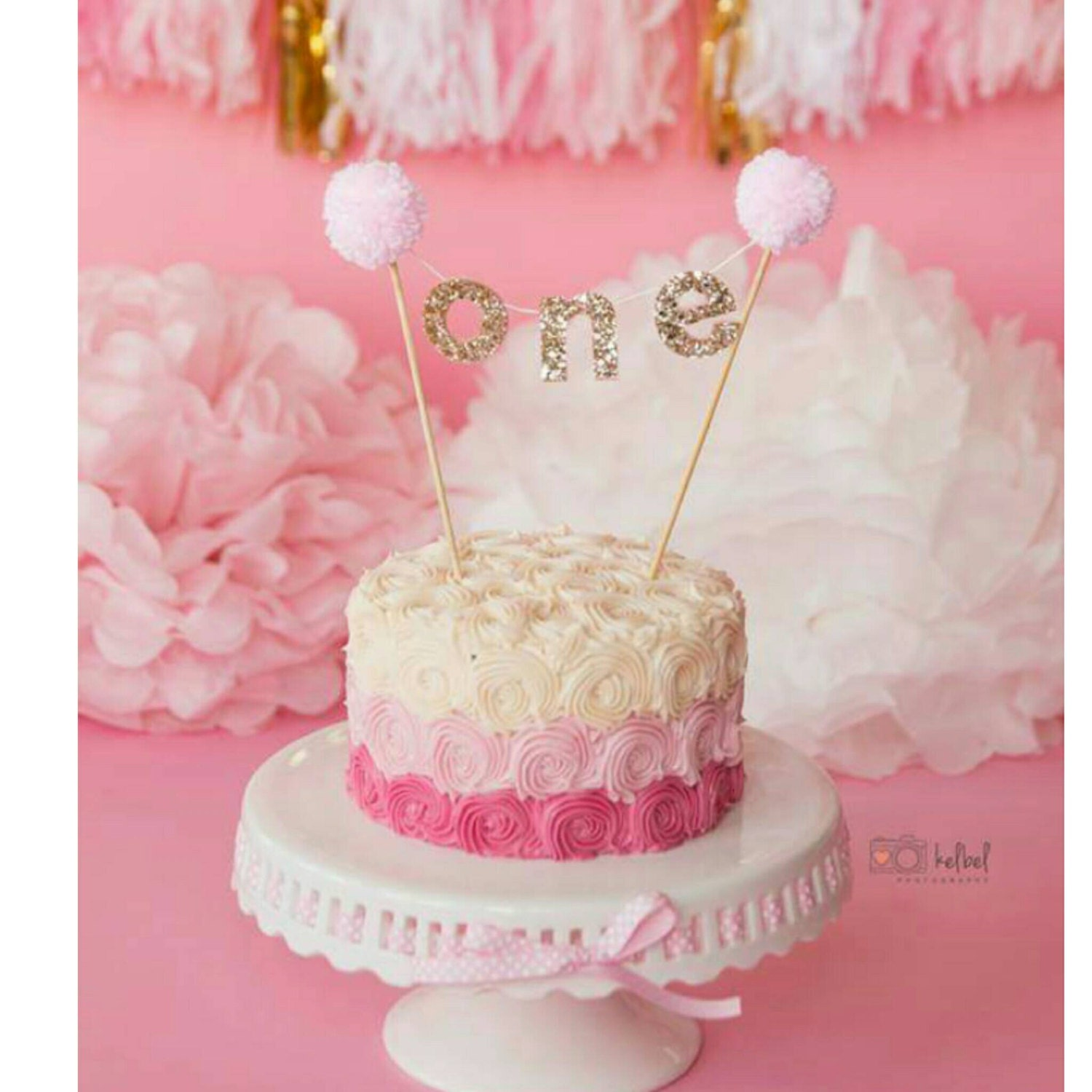 Pink And Gold Cake Banner For First Birthday First Birthday