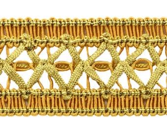 6 Yard Value Pack of Vintage 1.5 Inch (3.8cm) Wide Medium And Light Gold Gimp Braid Trim - Golden Rays 4875 (18 Ft / 6.5m)