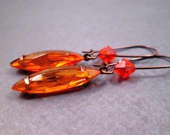 Rhinestone Earrings, Orange Glass Navettes, Brass Dangle Earrings, FREE Shipping U.S.
