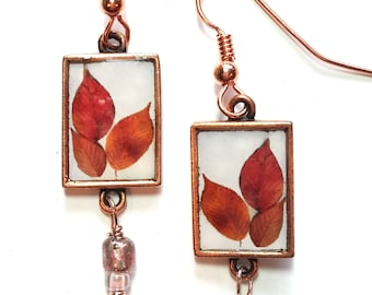 Three-Leaf Rectangle Earrings