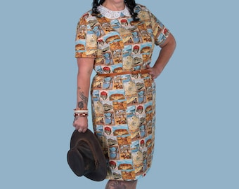 Grace 1950/60s dress in Australian Gold fabric