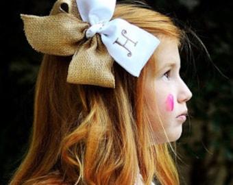 Monogrammed Burlap Hair Bow Initial Custom Boutique Personalized Gift Letter Rustic khaki hairbow Girls Monogram Barn Wedding Flower Girl