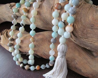 108 Mala Beads with Amazonite, Hand Knotted Long Tassel Necklace, Yoga Jewelry, Buddhist Prayer Beads
