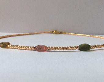 Tourmaline and Rose Gold Beaded Choker // Seed Bead Choker // Watermelon Tourmaline Gemstone Nugget and Rose Gold Metallic Choker