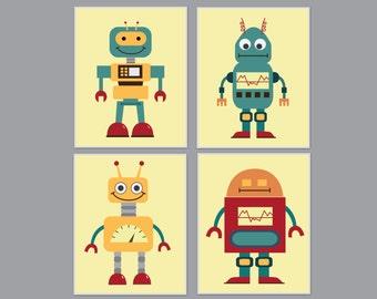 Retro Robot Wall Art Print, Nursery Space Wall Art, Boys Bedroom Decor - H689 - Custom Color-Unframed