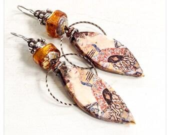 Klimt earrings - art decal earrings -Scorched Earth earrings