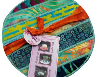 Fabric Trivet, Mug Rug, Candle Mat in Striped Muticolored Batiks (set of 2)