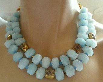 Milky Aquamarine Nugget Gold Pyrite Druzy Multi Strand Statement Necklace 2 Strand Necklace March Birthstone