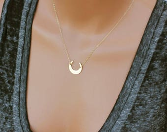 Crescent Moon Necklace, Gold Moon Necklace, Gift for Her, Unique Pendant Necklace, 14k Gold Fill, Sterling Silver & Rose Gold
