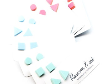 Tiny Pastel Studs · Pastel Stud Earrings · Pastel Dot Stud · Triangle Stud · Square Stud · Laser Cut Shape Stud