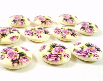 buttons 10 wood flowers, 15mm (div10)