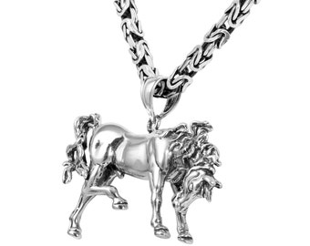 3D Arabian Gray Horse Necklace in Sterling Silver, Horse Jewelry.  FD-26-2