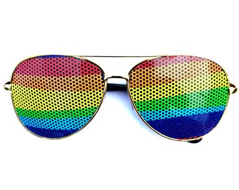 Wavy Rainbow Colorful Graphic Aviator Party Festival Sunglasses