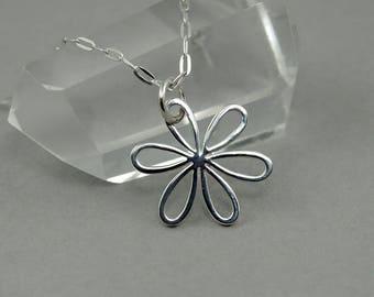 Daisy Necklace - Sterling Silver Tiny Charm Necklace, Flower, Girls Jewelry, Girls Necklace, Tiny Charms, Charm Bracelet Charms