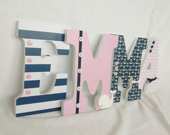 nautical letters, nautical nursery letters, nursery letters, wooden letters, girl hanging letters, wooden letters for girl