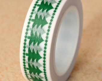 Christmas Washi Tape, Green Christmas Tree Washi Tape (2C-28)