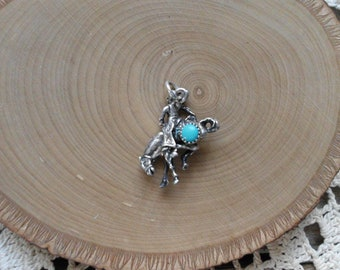 Sterling Silver & Turquoise Cowboy Charm - Pendant