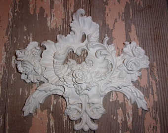 Shabby Chic Furniture Appliques  LARGE ROSE Center * Flexible * NEW * Onlays Mouldings and More!  5.95 No Limit Shipping!