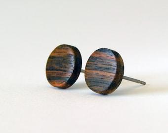 Ebony Wood Studs, wood earrings, unisex, mens stud earrings, wood stud earrings, men's studs, wood post earrings, natural wood studs