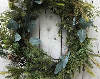 Winter Wreath, Rustic Winter Wreath, Farmhouse Winter, Rustic Decor, Eucalyptus Wreath, The Wispy Twig