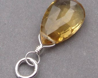 Citrine Necklace Pendant, Sterling Silver Wire Wrapped Pendant, Citrine Briolette, Birthstone Charm, Stone 4