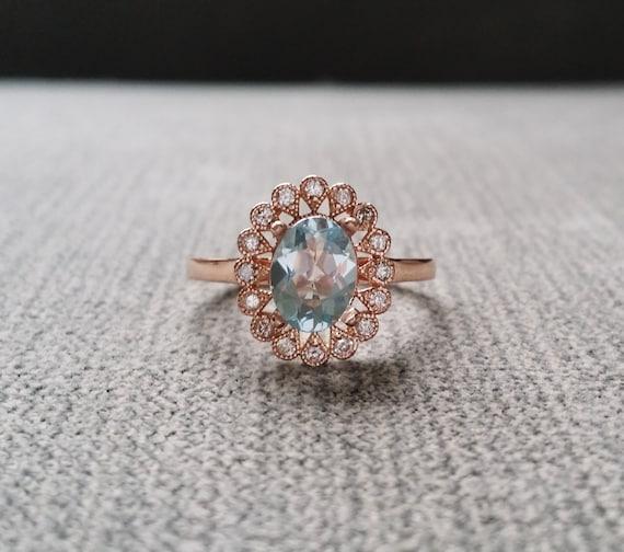Greatest Halo Aquamarine Diamond Ballerina Oval Antique Engagement Ring JC09