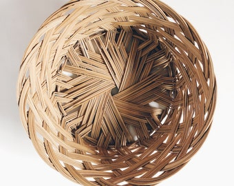 Vintage woven wicker wall basket