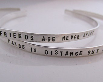 Best Friend Bracelets  -  Long Distance friendship cuff bracelets  - hand stamped jewelry - skinny cuff - stacking bracelets - set of 2