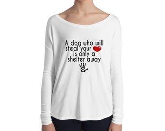 Shelter Dog Ladies' Long Sleeve Flowy Tee