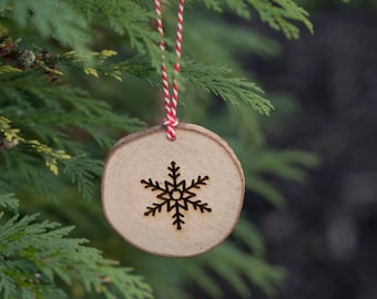 Snowflake Hanging Christmas Tree Decoration - Engraved Wooden Log Slice Christmas Decoration