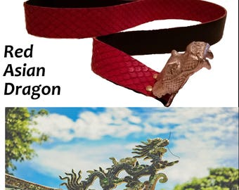 Red Asian Dragon Belt