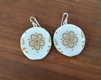 Corelle Butterfly Gold Pyrex Jewelry Earrings in Sterling Silver, Circle, Unique Recycle broken Vintage 1970 plate,PyrexJewelry flora #P755