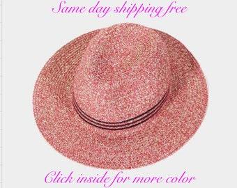 STRIPED STRAW FEDORA Hat