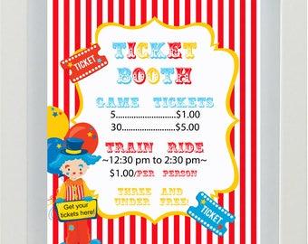 Circus Birthday, Circus Party, Circus Decorations, Circus Theme, Circus Ticket Booth, Circus Printable, Circus Tickets, Circus Sign