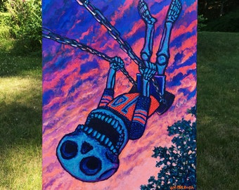 "Summer Sunset Skeleton on Swingset Original 18"" x 24"" Acrylic Painting by Mister Reusch"