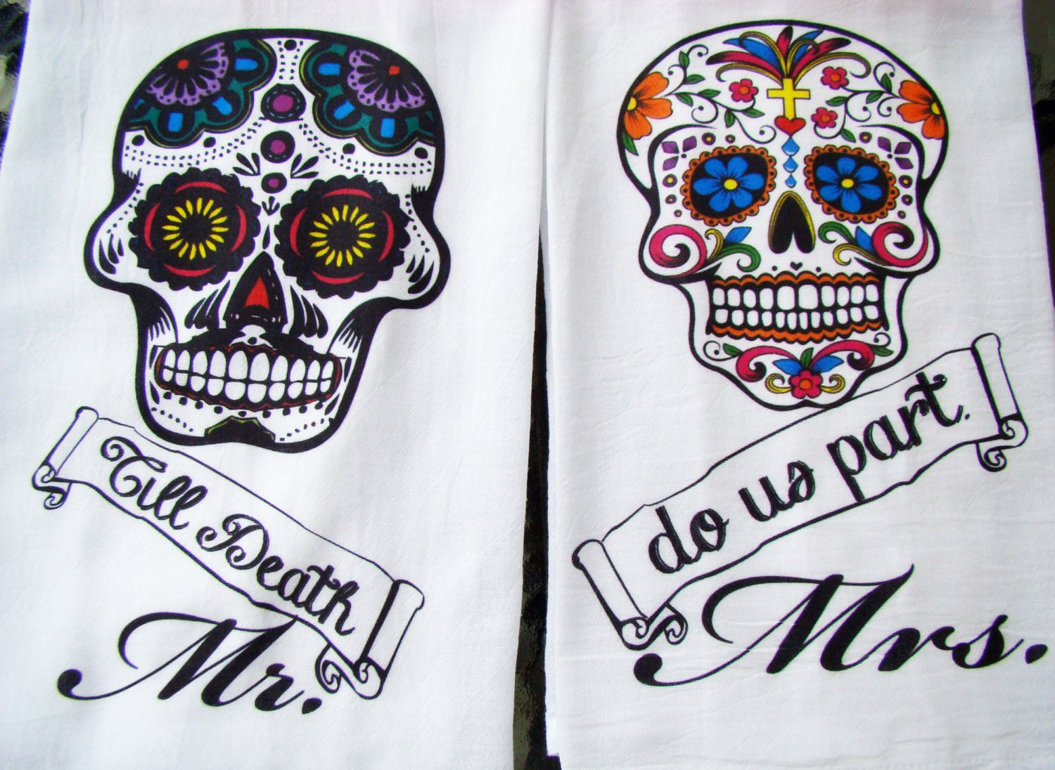 Dia De Los Muertos tea towels Day of the Dead Mr. Mrs. Till