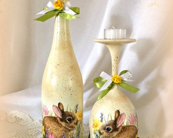 Easter Bunny Decor, Easter Candles, Wine Bottle, Decoupage, Painted Wine  Glass Candle