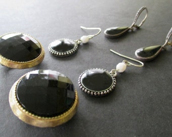 Black Earrings * Onyx And Glass * Lot Of Three Pairs * Vintage Clip Ons * Pierced