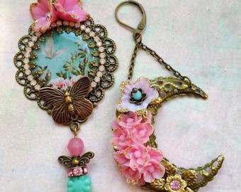 Romantic pastel butterflies and moon earrings