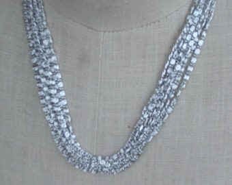 Vintage 1960s Sarah Coventry Silver Tone Multichain Necklace 8 Chains