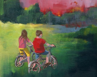 Nursery Art - Giclee print of an original painting reproduction for children nursery decor poster boy and girl bicycle - Getting Close