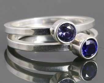 2 Stackable Rings: Lab-Created Birthstone Rings. Stacking Rings.  Made to Order.