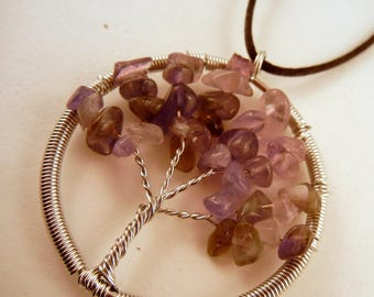 Tree of Life Necklace Amethyst Natural Crystal Pendant, Stone Jewelry