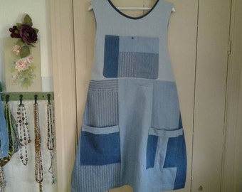 Denim Patchwork Full Apron