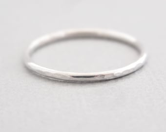 Sterling Silver Ring minimalist ring everyday hammered skinny 16 gauge stackable ring