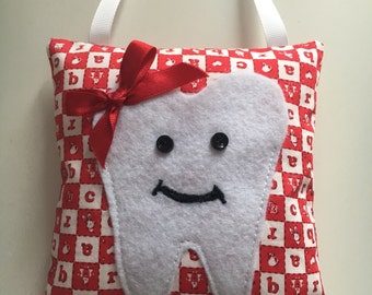 Red & White Tooth Fairy Pillow