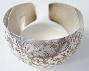 Chased sterling cuff bracelet | engraved sterling 925 | bridal wedding cuff | acanthus foliage leaves
