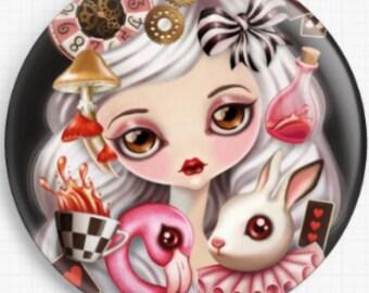 Needle Minder, Magnet, Licensed Art By Sandra Vargas, Alice In Wonderland, 'Alicia', Scissor Minder, Cross Stitch Keeper Fridge Magnet