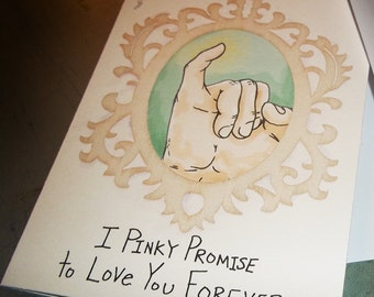 Super Cute Romantic Love Card Pinky Promise 5x7 Greeting Card Blank inside by Agorables Valentine's Day