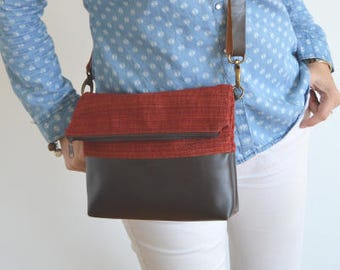 Foldover Crossbody Bag, Simple Everyday Purse, Fabric and Leather Shoulder Bag Purse